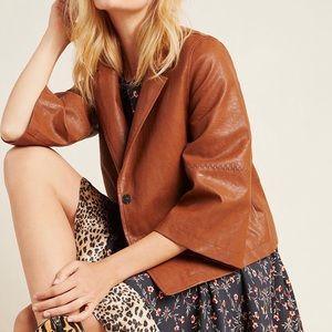 ANTHRO HAYDEN EMBROIDERED FAUX LEATHER JACKET